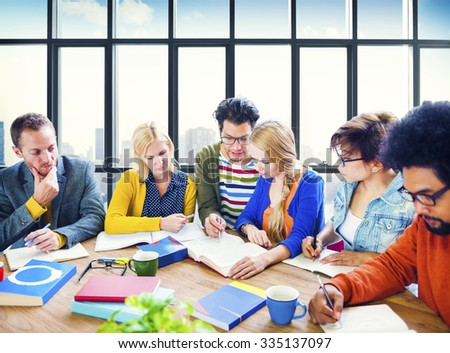 College University Students Studying Learning Concept - stock photo