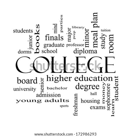 College Word Cloud Concept in black and white with great terms such as tuition, study, student, major and more. - stock photo