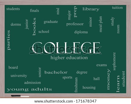 College Word Cloud Concept on a Blackboard with great terms such as tuition, study, student, major and more. - stock photo