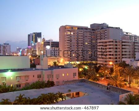 Collins Avenue, South Beach Florida at sunrise - stock photo