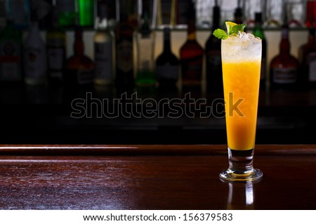 collins cocktail on the bar - stock photo