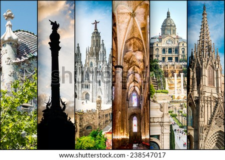 colllage of different photos Barcelona - stock photo