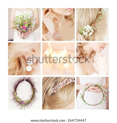 Collsge of bride's accessories: bouquet, flowers, candles, - stock photo