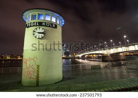 cologne and the rhine river at night - stock photo