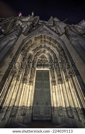 Cologne Cathedral at night, Germany.Wide angle. - stock photo