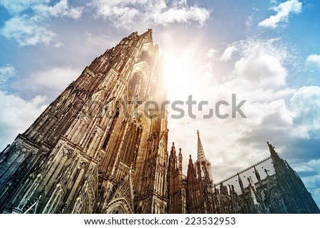 Cologne Cathedral (K�¶lner Dom) in the morning sun, Cologne, Germany - stock photo