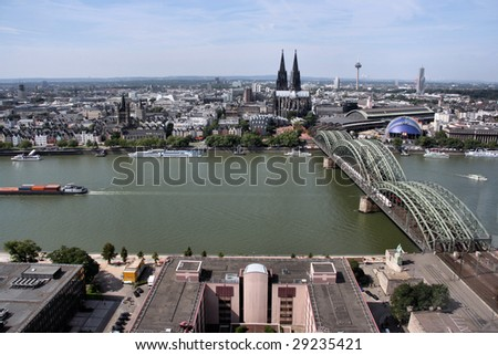 Cologne cityscape with Rhine river and famous cathedral - stock photo