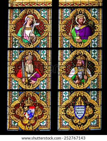 COLOGNE, GERMANY - APRIL 21, 2010: Stained Glass window depicting Charlemagne or Charles the Great, on the left side, in the Dom of Cologne, Germany. - stock photo