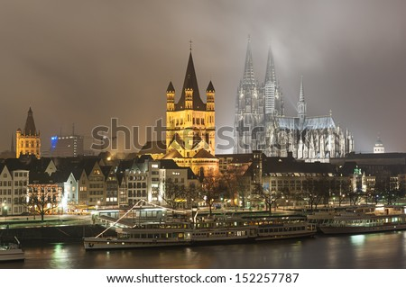 Cologne Germany by night - stock photo