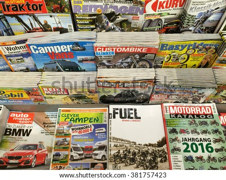 Cologne,Germany- February 25,2016: Popular german car magazines on display in a store in Cologne,Germany.    - stock photo