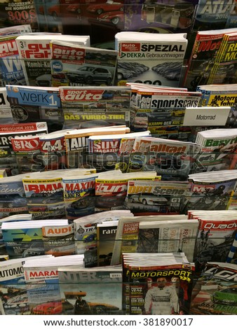 Cologne,Germany- February 25,2016: Popular german magazines on display in a store in Cologne,Germany.  - stock photo