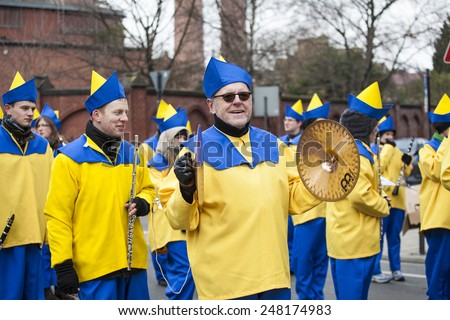 Cologne, Germany- February 11, 2013: Rosenmontag Parade( the rose monday)moves through the city.  - stock photo