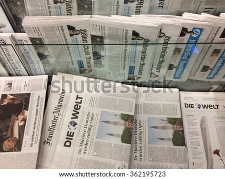 Cologne,Germany- January 14,2016: Popular german newspapers on display in a store in Cologne,Germany    - stock photo