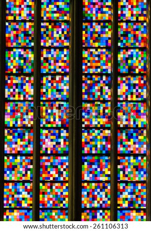 COLOGNE, GERMANY - JUNE 1, 2011; The Stained glass with colour squares in the Cologne Cathedral. - stock photo