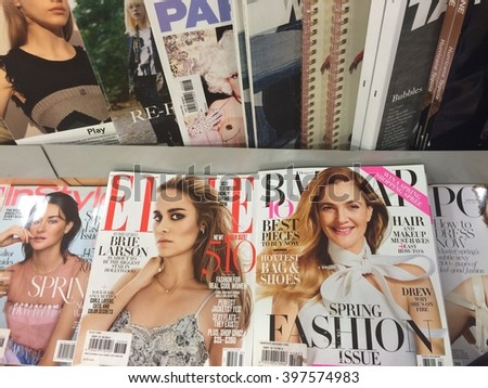 Cologne,Germany- March 29,2016: Polular german magazines in a store in Cologne,Germany - stock photo