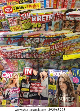 Cologne,Germany- March 19, 3016: Popular Magazines in a store in Cologne,Germany - stock photo