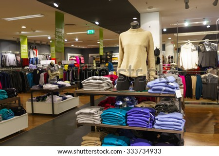 COLOGNE, GERMANY - SEPTEMBER 19, 2014: interior of shopping store in Cologne. Shopping in Cologne can be done easily within walking distance. - stock photo
