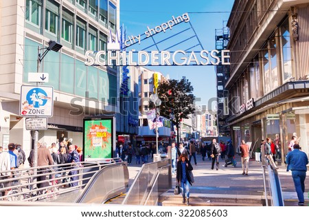 COLOGNE, GERMANY - SEPTEMBER 29, 2015: sign of the Schildergasse in Cologne at the entrance. The Schildergasse is with about 13000 visitors an hour the second most visited shopping street in Germany. - stock photo