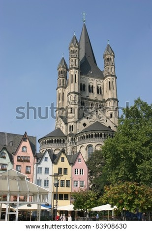 Cologne, Germany, view of Great Saint Martin Church and medieval town houses - stock photo