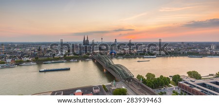 Cologne skyline view at sunset, germany - stock photo
