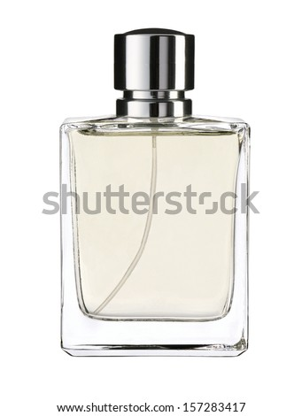Cologne water / studio photography of transparent bottle with essence - isolated on white background  - stock photo
