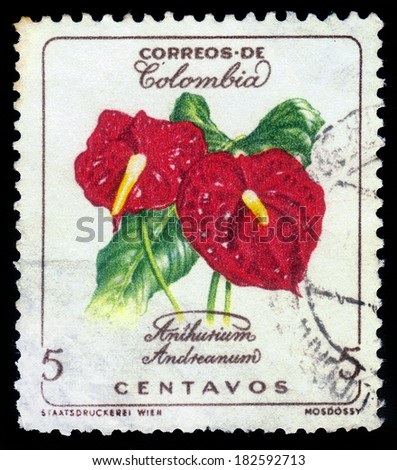 COLOMBIA - CIRCA 1960: A postage stamp printed in Colombia shows the Anthurium andreanum, series flowers of Colombia, circa 1960 - stock photo