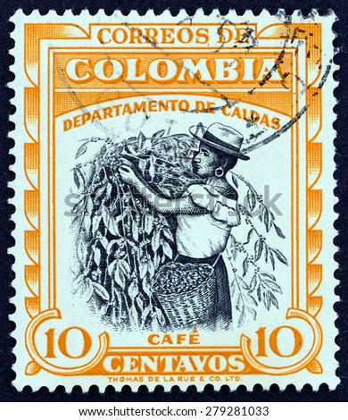 "COLOMBIA - CIRCA 1956: A stamp printed in Colombia from the ""Regional Industries "" issue shows Coffee, Caldas, circa 1956. - stock photo"