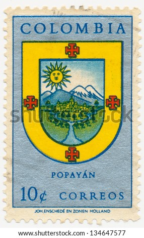 COLOMBIA - CIRCA 1961: A stamp printed in Colombia, shows Arms of Popayan, circa 1961 - stock photo