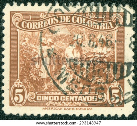 COLOMBIA - CIRCA 1939: A stamp printed in Colombia shows Coffee Plantation, circa 1939. - stock photo