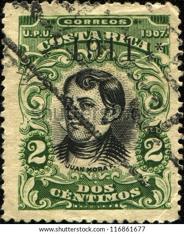 COLOMBIA - CIRCA 1907: A stamp printed in Colombia shows Juan Francisco Mora, circa 1907 - stock photo