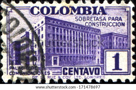 COLOMBIA - CIRCA 1940: A stamp printed in Colombia shows New Post office, Bogota  - stock photo