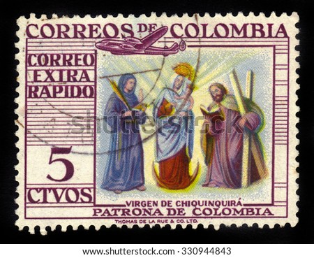 COLOMBIA - CIRCA 1954: A stamp printed in Colombia shows Our Lady of the Rosary of Chiquinquira or the Virgin of Chiquinquira, she is the patron saint of Colombia, circa 1954 - stock photo