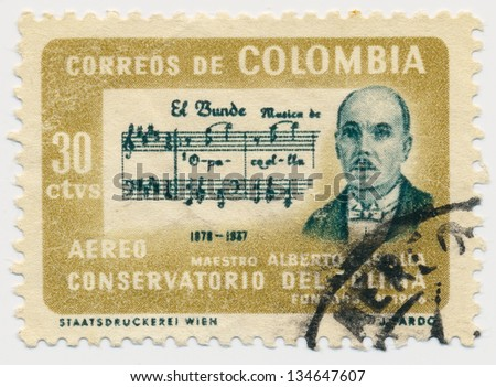 COLOMBIA - CIRCA 1964: A stamp printed in Colombia, shows portrait of Alberto Castilla (1878-1937) and Score of El Bunde, circa 1964 - stock photo
