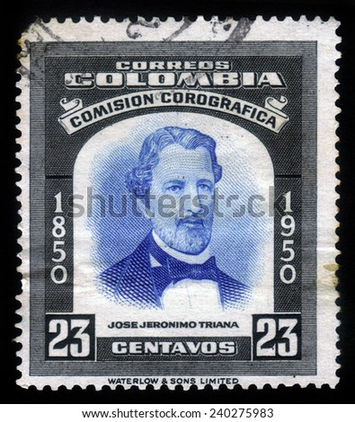 Colombia - CIRCA 1953: A stamp printed in Colombia shows portrait of Jose Jeronimo Triana, was an colombian botanist, circa 1953 - stock photo