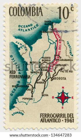 COLOMBIA - CIRCA 1961: A stamp printed in Colombia, shows Railroad Map of Colombia, circa 1961 - stock photo