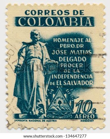 COLOMBIA - CIRCA 1957: A stamp printed in Colombia, shows Statue of Jose Matias Delgado, circa 1957 - stock photo
