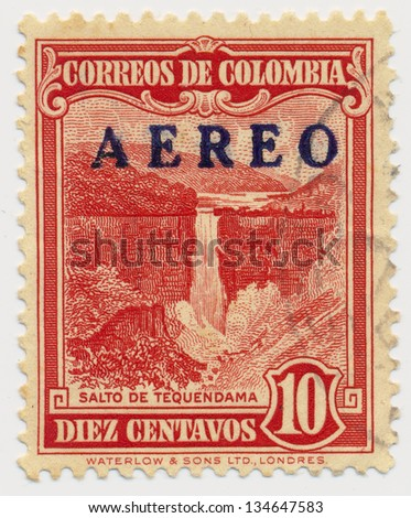 COLOMBIA - CIRCA 1948: A stamp printed in Colombia, shows Tequendama Falls, circa 1948 - stock photo