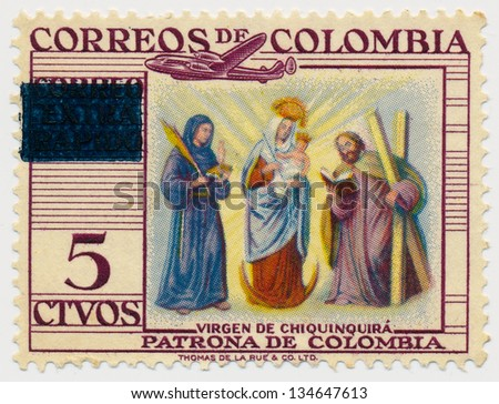 COLOMBIA - CIRCA 1954: A stamp printed in Colombia, shows Virgin of Chiquinquira, circa 1954 - stock photo