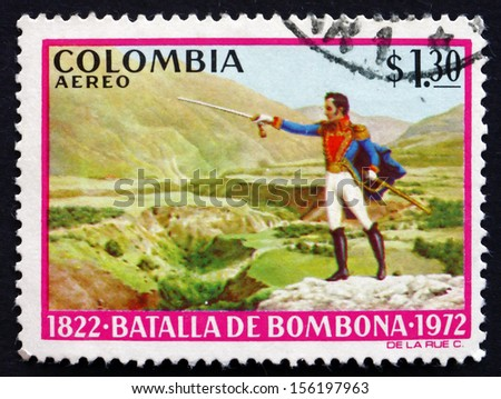 COLOMBIA - CIRCA 1973: a stamp printed in the Colombia shows Simon Bolivar, Battle of Bombona, Sesquicentennial of the Battle of Bombona, circa 1973 - stock photo