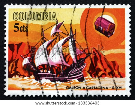 COLOMBIA - CIRCA 1966: a stamp printed in the Colombia shows Spanish galleon, 16th century, circa 1966 - stock photo