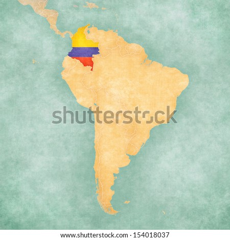 Colombia (Colombian flag) on the map of South America. The Map is in vintage summer style and sunny mood. The map has a soft grunge and vintage atmosphere, which acts as a watercolor painting.  - stock photo