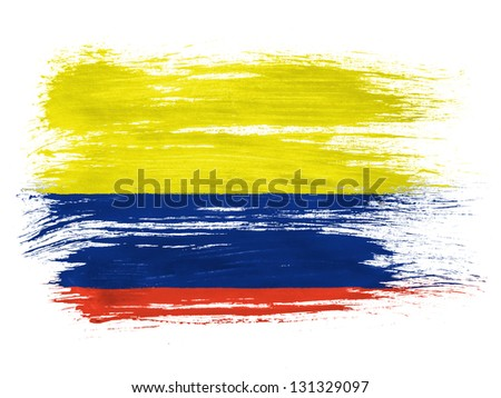 Colombia. Colombian flag  on white background - stock photo