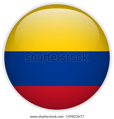 Colombia Flag Glossy Button - stock photo