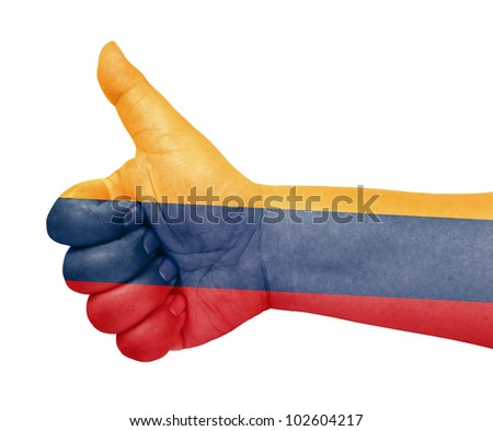 Colombia flag on thumb up gesture like icon - stock photo