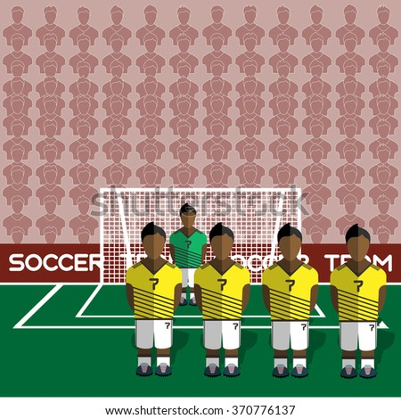Colombia Football Club Soccer Players Silhouettes. Computer game Soccer team players big set. Sports infographic. Football Teams in Flat Style. Goalkeeper Standing in a Goal. Raster illustration. - stock photo