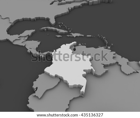 colombia map 3D - stock photo