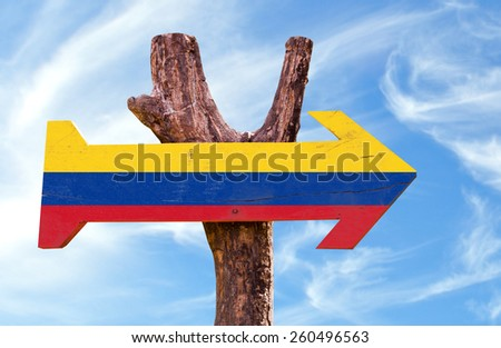 Colombia sign with sky background - stock photo
