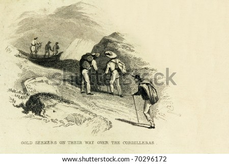COLOMBIA, SOUTH AMERICA- CIRCA 1828-Unidentified gold prospectors cross the Cordilleras. This image is of an antique miniature drawing from the Illustrated Atlas of the World published circa 1828 - stock photo