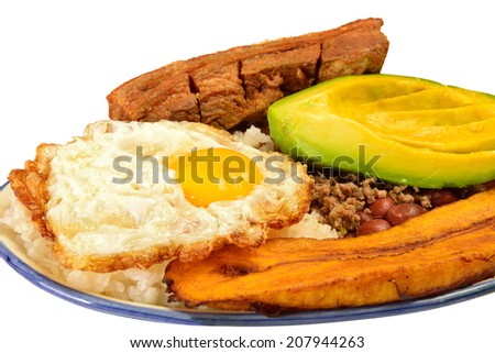 Colombian cuisine. Bandeja paisa. - stock photo