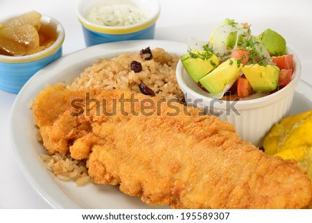 Colombian cuisine. Breaded fish. - stock photo